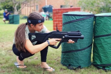 Laser tag school girl